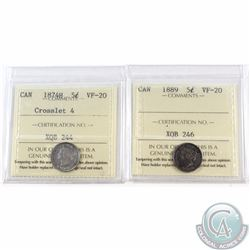 5-cent 1874H Crosslet 4 & 1889 ICCS Certified VF-20. 1889 has nice dark even toning. 2pcs