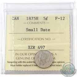 5-cent 1875H Small Date ICCS Certified F-12