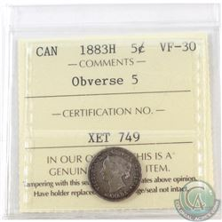 5-cent 1883H Obverse 5 ICCS Certified VF-30