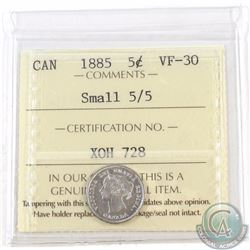 5-cent 1885 Small 5/5 ICCS Certified VF-30