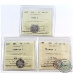 5-cent 1885 Small 5 ICCS Certified VF-20, 1891 Obverse 2 VF-30 & 1892 Obverse 2 EF-40. 3pcs