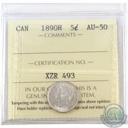 5-cent 1890H ICCS Certified AU-50. Nice blast white coin with clean fields.