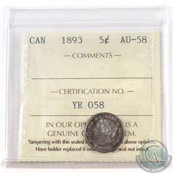 5-cent 1893 ICCS Certified AU-58