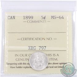 5-cent 1899 ICCS Certified MS-64. A blast white coin with exceptional eye appeal.