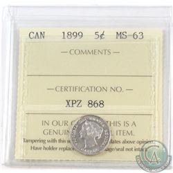 5-cent 1899 ICCS Certified MS-63