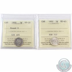 5-cent 1900 Round 0 ICCS Certified VF-20 & 1902 MS-63. 2pcs