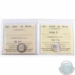 5-cent 1902 & 1902H Large H ICCS Certified MS-64. 2pcs.