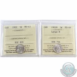 5-cent 1902 ICCS Certified MS-63 & 1902H Large H MS-64. 2pcs