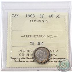 5-cent 1903 ICCS Certified AU-55. Beautiful rainbow toning around the rim of both coin faces.