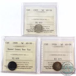 5-cent 1905 ICCS Certified AU-58, 1909 Round Leaves; Bow Tie AU-50 & 1916 AU-58. 3pcs