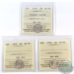5-cent 1910 Pointed Leaves ICCS Certified AU-58, 1912 AU-55 & 1914 AU-58. 3pcs