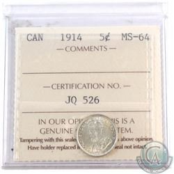 5-cent 1914 ICCS Certified MS-64. Overall an attractive example of this coin.