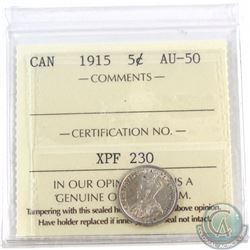 5-cent 1915 ICCS Certified AU-50
