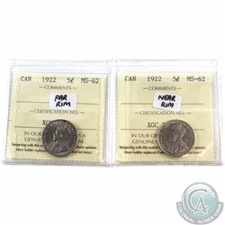 5-cent 1922 Far Rim & 1922 Near Rim ICCS Certified MS-62. 2pcs