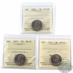 5-cent 1922, 1923 & 1931 ICCS Certified AU-55. 3pcs