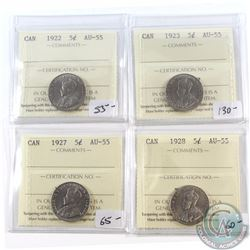 5-cent 1922, 1923, 1927 & 1928 ICCS Certified AU-55. 4pcs