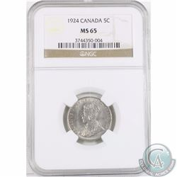 5-cent 1924 NGC Certified MS-65. Tied for 2nd highest grade with only one graded higher!