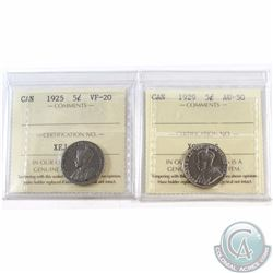 5-cent 1925 ICCS Certified VF-20 & 1929 AU-50. 2pcs
