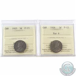 5-cent 1925 & 1926 Far 6 ICCS Certified F-15. 2pcs
