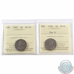 5-cent 1925 ICCS Certified VG-10 & 1926 Far 6 ICCS Certified VG-8. 2pcs