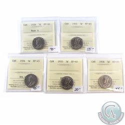 5-cent ICCS Certified Lot; 1926 Near 6 EF-40, 1931 EF-45, 1934 EF-45, 1935 EF-40 & 1936 AU-55. 5pcs