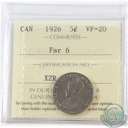 5-cent 1926 Far 6 ICCS Certified VF-20