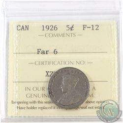 5-cent 1926 Far 6 ICCS Certified F-12