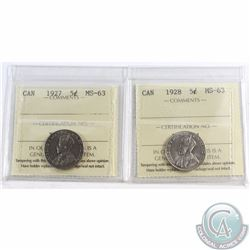 5-cent 1927 & 1928 ICCS Certified MS-63. 2pcs