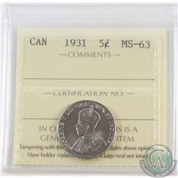 5-cent 1931 ICCS Certified MS-63