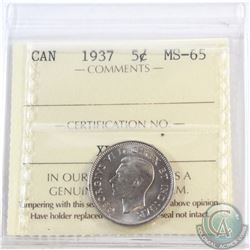 5-cent 1937 ICCS Certified MS-65. Tied for 2nd highest grade with only 5 graded higher!