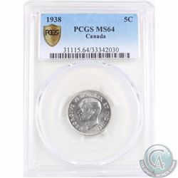 5-cent 1938 PCGS Certified MS-64. Tied for 2nd highest grade with only 7 graded higher!
