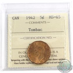 5-cent 1942 Tombac ICCS Certified MS-65