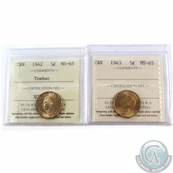 5-cent 1942 Tombac & 1943 Tombac ICCS Certified MS-65. 2pcs