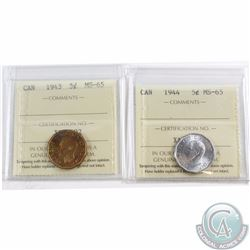 5-cent 1943 & 1944 ICCS Certified MS-65. 2pcs