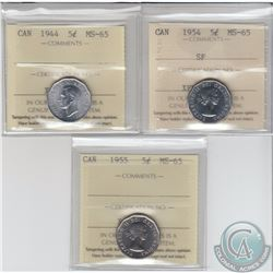 5-cent 1944, 1954 SF & 1955 ICCS Certified MS-65. 3pcs