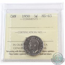 5-cent 1950 ICCS Certified MS-65. Tied for highest known grade!