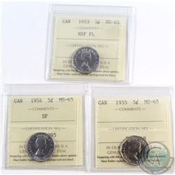 5-cent 1953 NSF FL, 1954 SF, 1955 ICCS Certified MS-65