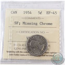 5-cent 1954 SF Missing Chrome ICCS Certified EF-45