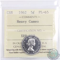 5-cent 1962 ICCS Certified PL-65 Heavy Cameo