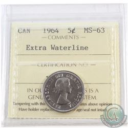 5-cent 1964 Extra Waterline ICCS Certified MS-63