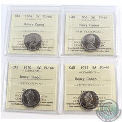 5-cent 1964, 1965, 1970, 1972 ICCS Certified PL-66 Heavy Cameo. 4pcs.