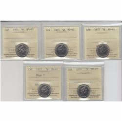 5-cent 1971, 1973, 1975, 1977 High 7, 1978 ICCS Certified MS-65. 5pcs.