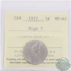 5-cent 1977 High 7 ICCS Certified MS-65. Tied for 2nd highest grade with only 6 graded higher!