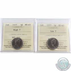 5-cent 1977 High 7 & Low 7 ICCS Certified MS-65. 2pcs
