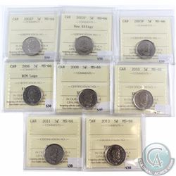 5-cent 2002P, 2003P New Effigy, 2005P, 2006 RCM Logo, 2008, 2010, 2011 & 2012 ICCS Certified MS-66.