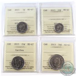 5-cent, 10-cent, 25-cent & 50-cent 2015 ICCS Certified MS-67. All coins are tied for the finest know
