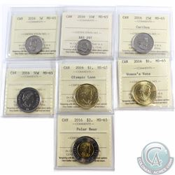 5-cent, 10-cent, 25-cent, 50-cent, $1 Olympic Loon, $1 Women's Vote & $2 2016 ICCS Certified MS-65.