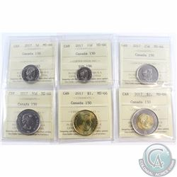 5-cent, 10-cent, 25-cent, 50-cent, Loon $1 & $2 2017 Canada 150 ICCS Certified MS-66. 6pcs
