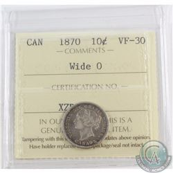 10-cent 1870 Wide 0 ICCS Certified VF-30