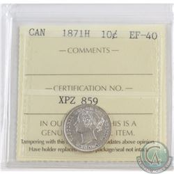 10-cent 1871H ICCS Certified EF-40